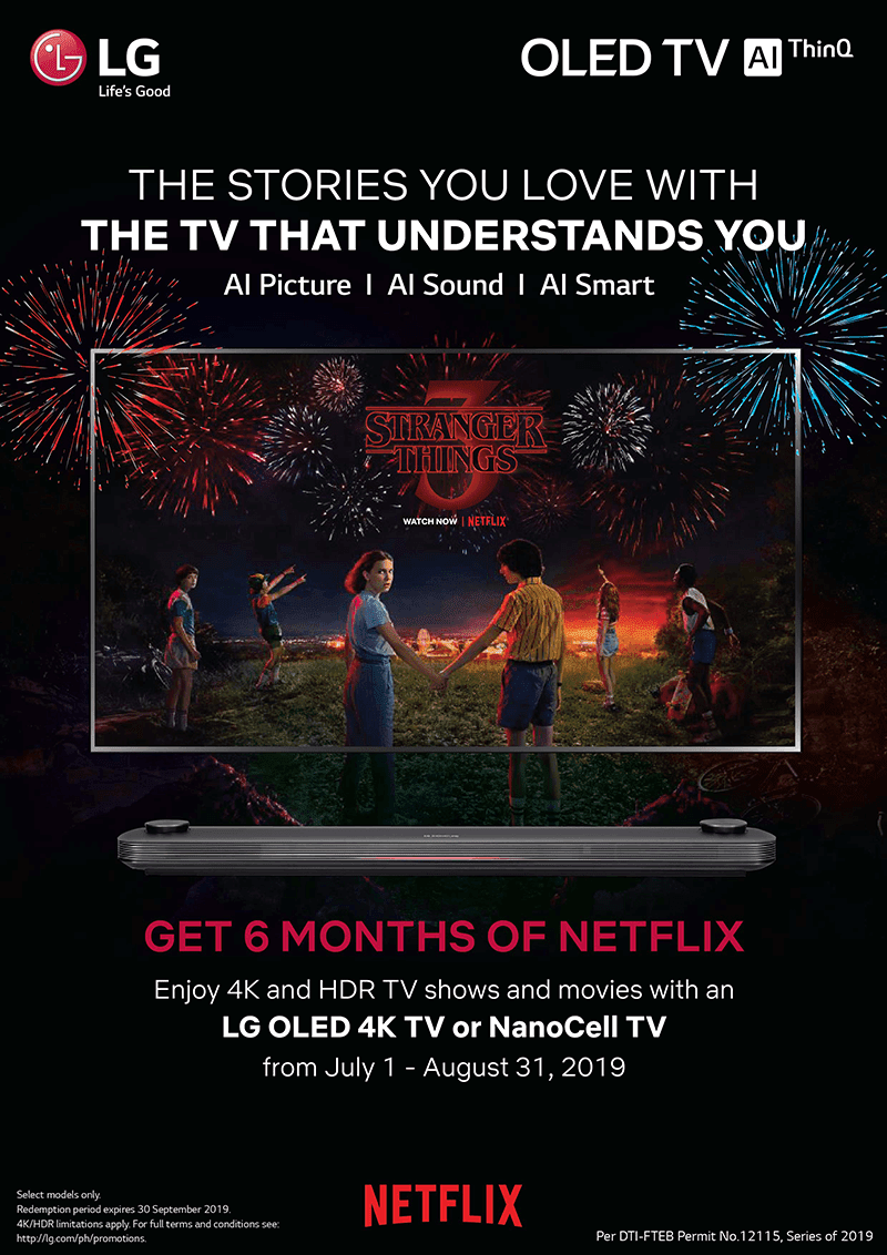 Puchase of 2019 LG OLED and Nanocell TVs come with FREE Netflix