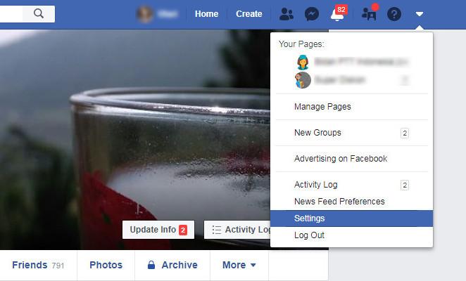 Menu pengaturan pada Facebook