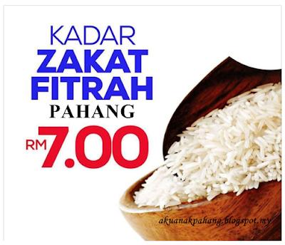 KADAR BAYARAN ZAKAT FITRAH PAHANG 2017 KEKAL RM7.00