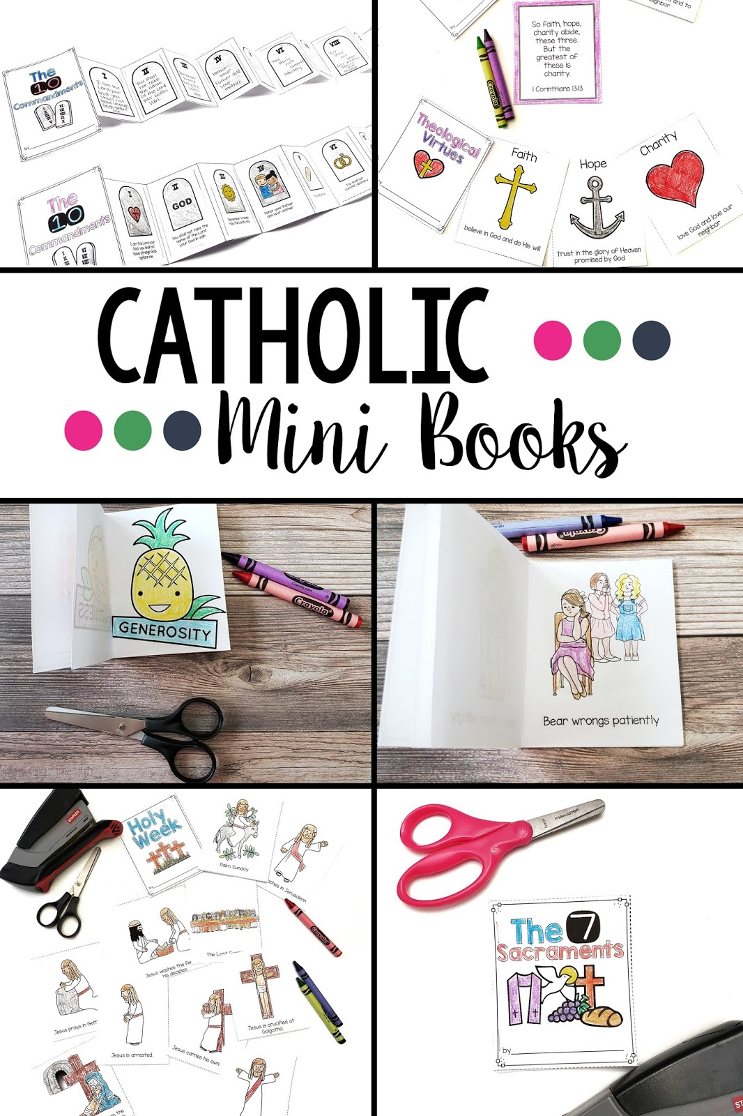 Catholic mini book bundle is the perfect printable activity for kids to teach them about the Catholic faith, the Bible, Jesus and more!
