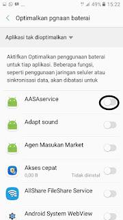 daftar aplikasi yang akan dimasukkan ke mode doze