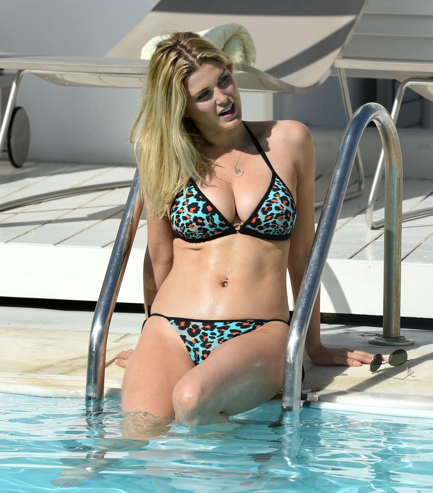 Ashley James in Bikini at a Pool in Greece