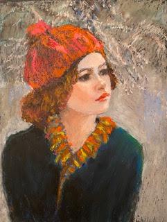 portrait, girl, orange cap, snow, ginger hair