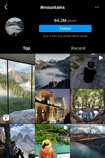 Mountains travel hashtags for Instagram