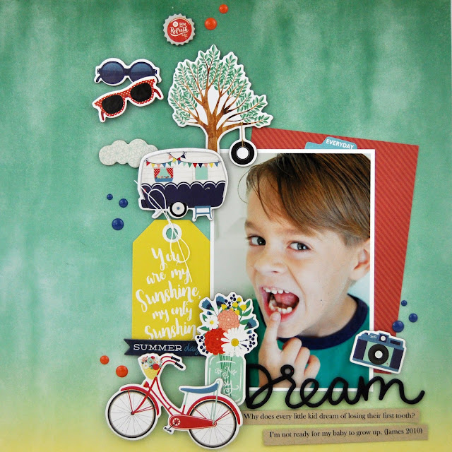 "Scrapbooking Process Video #67: How to Fill a Page with Chipboard Stickers. ""Dream"" layout by Jen Gallacher for www.jengallacher.com #jengallacher #scrapbooker"