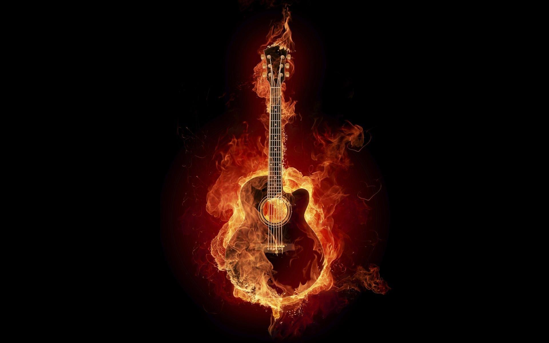 Guitar on Fire | Full HD Desktop Wallpapers 1080p