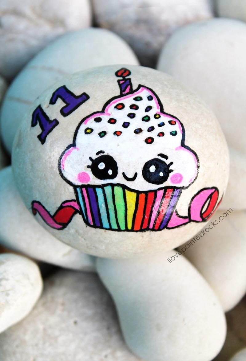 birthday cupcake painted rock ideas
