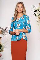 Bluza dama StarShinerS albastru-deschis eleganta scurta