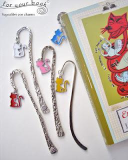 segnalibri metallo ciondolo gatto colorato