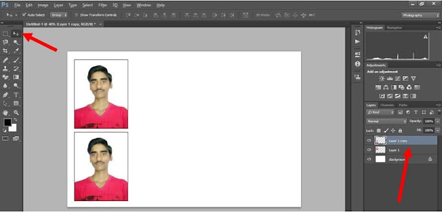 Create two copy photo in photoshop