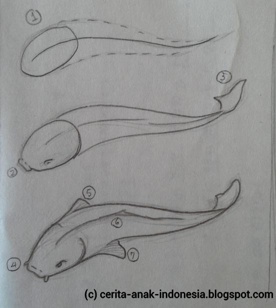 cara menggambar mudah: cara menggambar ikan