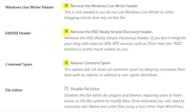 ajustes de sección de WordPress: