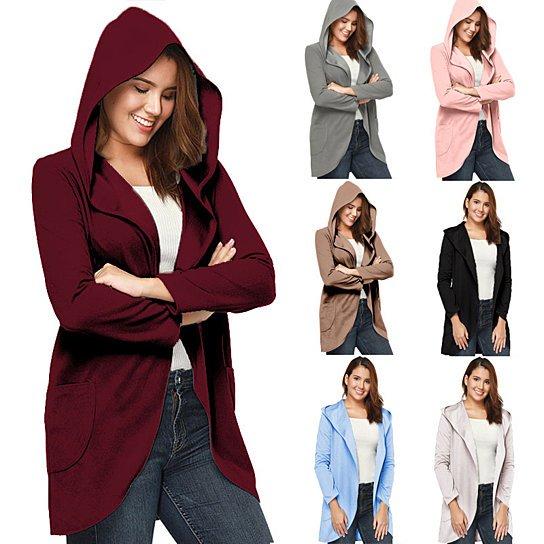 Women's Winter Solid Color Hooded Woolen Jacket