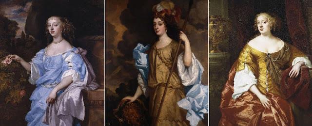 As belezas de Windsor: Henrietta Boyle, condessa de Rochester; Barbara Villiers, 1ª duquesa de Cleveland; Anna Digby, Condessa de Sunderland