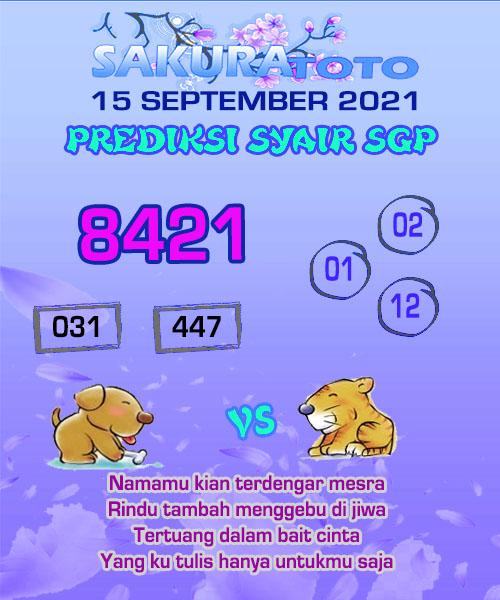 Syair Sakuratoto SGP Rabu 15 September 2021