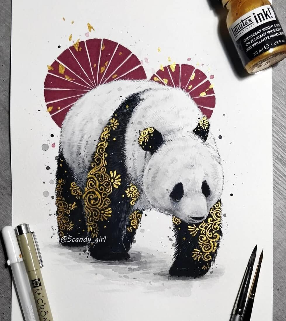 12-Panda-Jonna-Hyttinen-Animals-Mixture-of-Drawings-and-Paintings-www-designstack-co