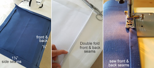 sewing instructions, iron, white and blue duck cloth