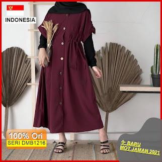 Dmb1216 Dress Wanita Lamera Dress Maxy Dress Full Kancing Polos