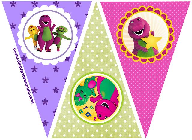 Banderines de  Barney para imprimir gratis.
