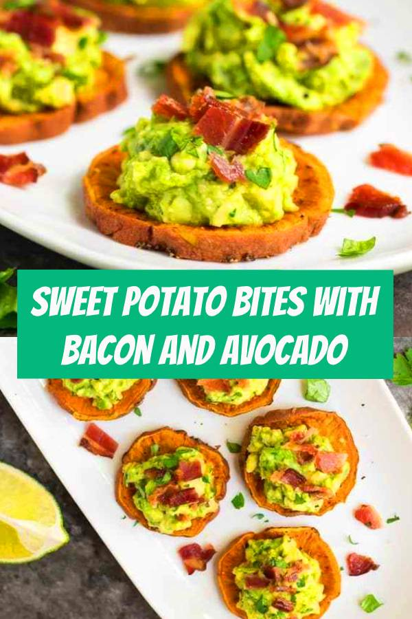 Sweet Potato Bites with Bacon and Avocado. Great finger food for game day! Paleo, gluten free, dairy free, and DELICIOUS. This easy and healthy baked sweet potato appetizer is always a crowd pleaser. #appetizers #bacon #glutenfree #dairyfree #paleo