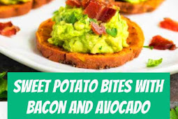 Sweet Potato Bites with Bacon and Avocado #appetizers #bacon #glutenfree #dairyfree #paleo