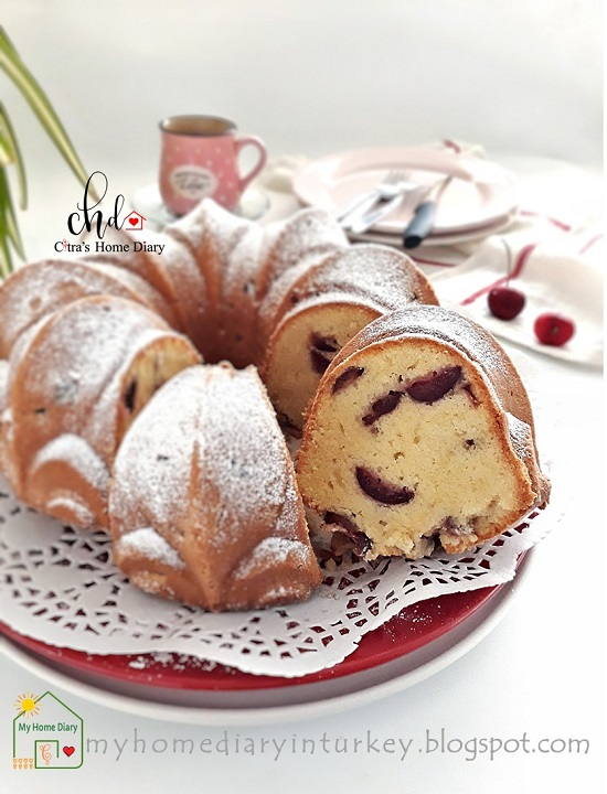 Cherry Pound Cake. Best recipe with Video | Çitra's Home Diary. #cherrycake #poundcake #coffeecake #cherryrecipeidea #kekbuahcherry #kirazlıkek #kirazlikek #resepbuttercake #fruitcake