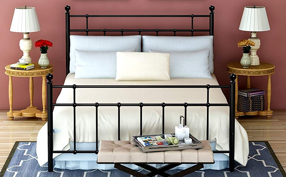 Metal Bed Frame Queen Size Platform with Steel Headboard and Footboard Mattress