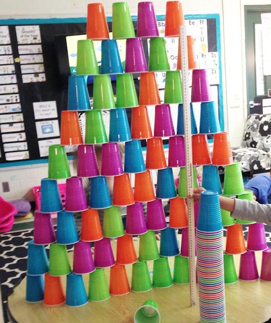 cup stacking 16oz cups in Kindergarten