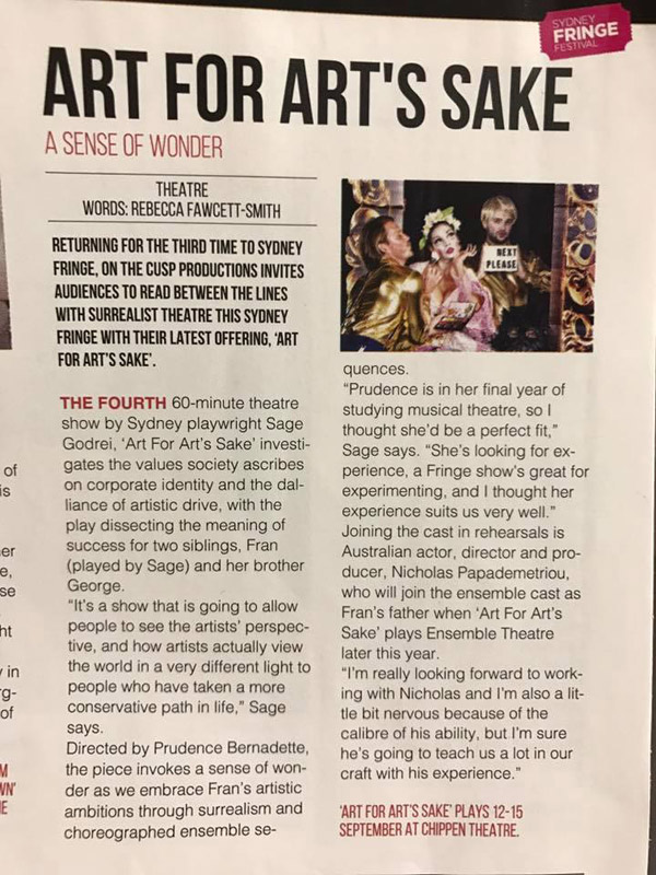 Newsprint review featuring publicity stills with Sage Godrei for her theatre piece Art For Arts Sake - Photography by Kent Johnson