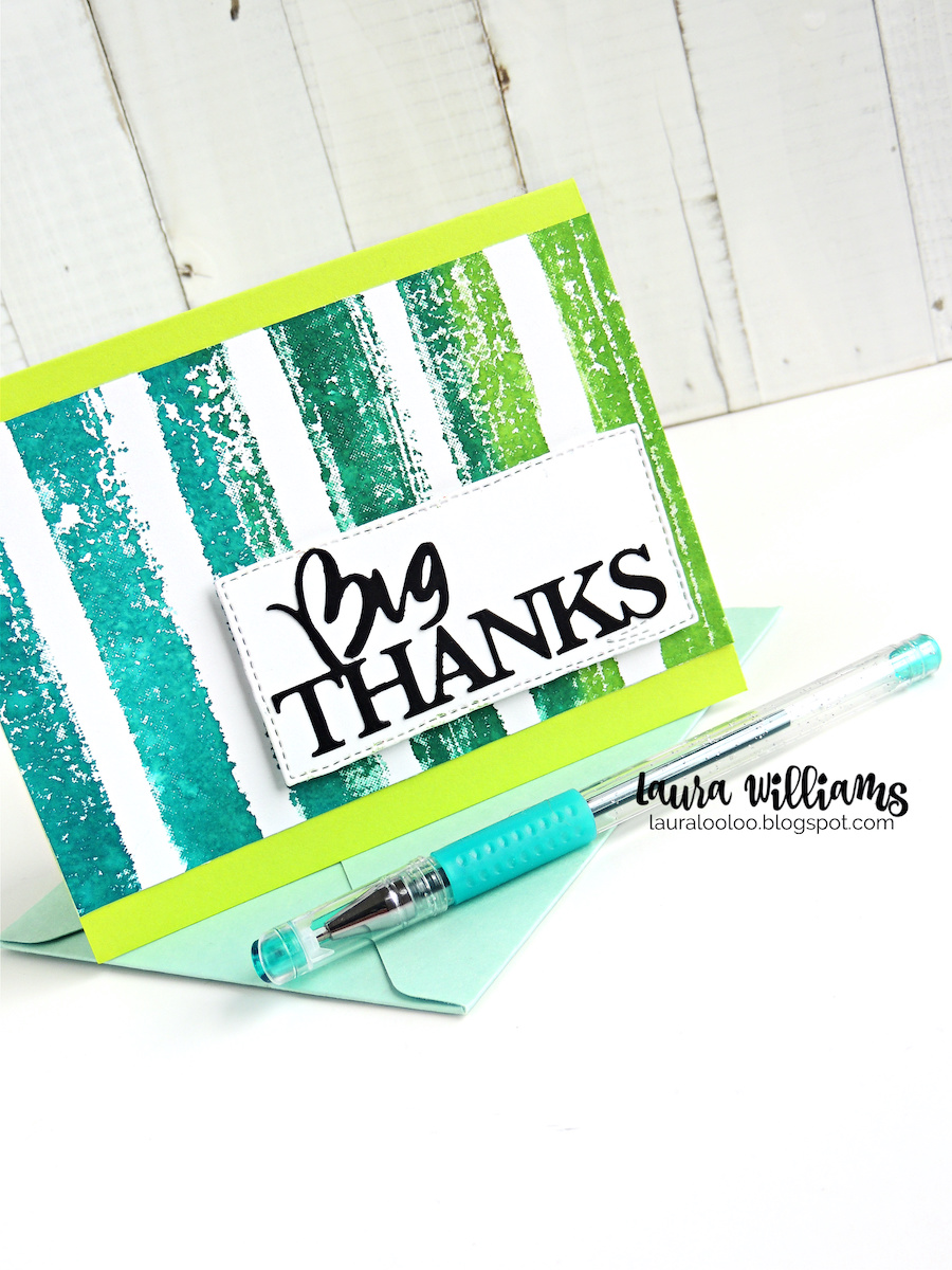 Big Thanks! Looking for a simple thank you card idea? Using one large background stamp with multiple ink colors is a simple way to add striking pattern and color to the background of a card. Then, simply die cut a Big Thanks sentiment and add it to the card. This is a great card idea to duplicate and make in batches for gifts, or to thank all the people you appreciate!