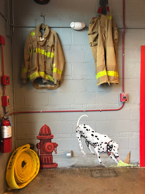 Adorable ode to the old fire station inside Chicago Mike's Ice Cream Co. in Highwood, Illinois