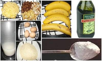 Bolo de farelo de aveia com banana e frutos secos