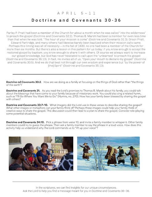 Come Follow Me home study printable lesson D&C 30-36