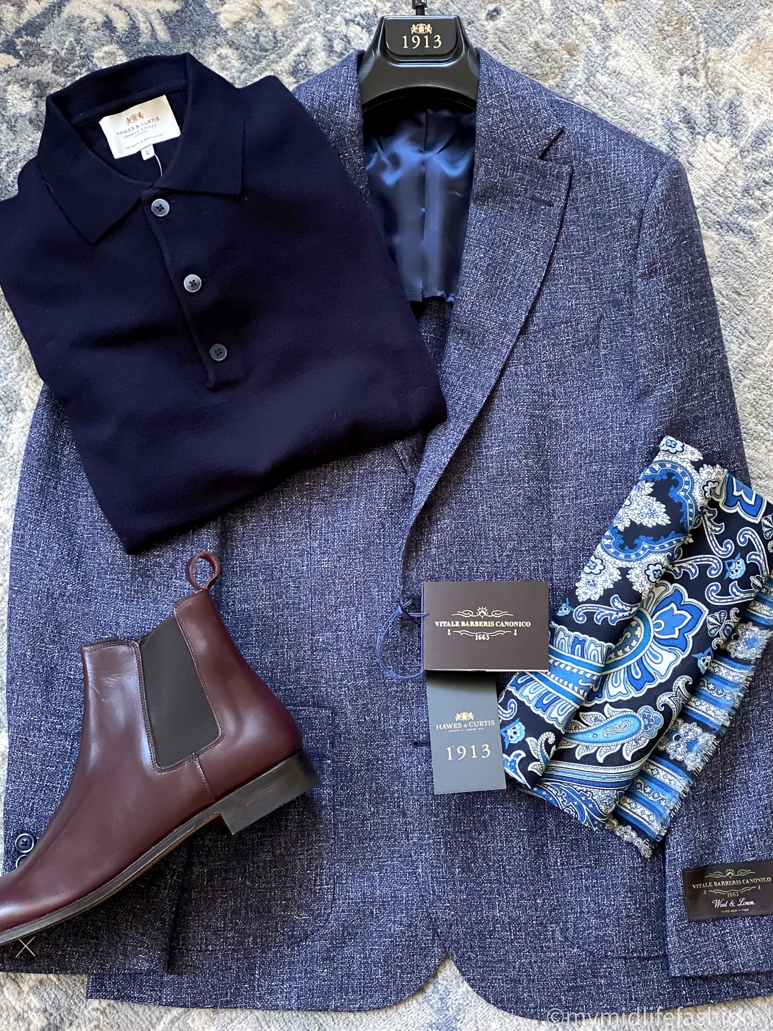 my midlife fashion, hawes and curtain Italian wool and linen blazer, hawes and Curtis merino wool polo neck jumper, hawes and Curtis mens burgundy leather Chelsea boot, hawes and Curtis navy and blue big paisley scarf