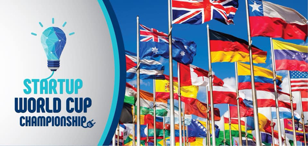 Logo of StartUp World Cup Championships and flags