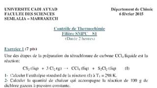 controle de thermochimie  Filière SMPC S1