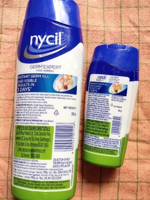 nycil cool herbal powder review - ingredient list (back side of the bottle)