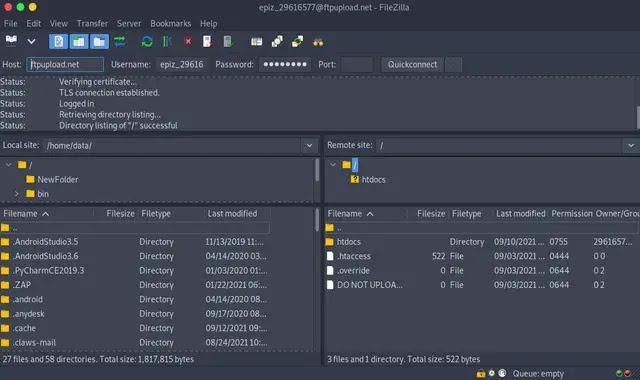 Connect to the server successfully via filezilla