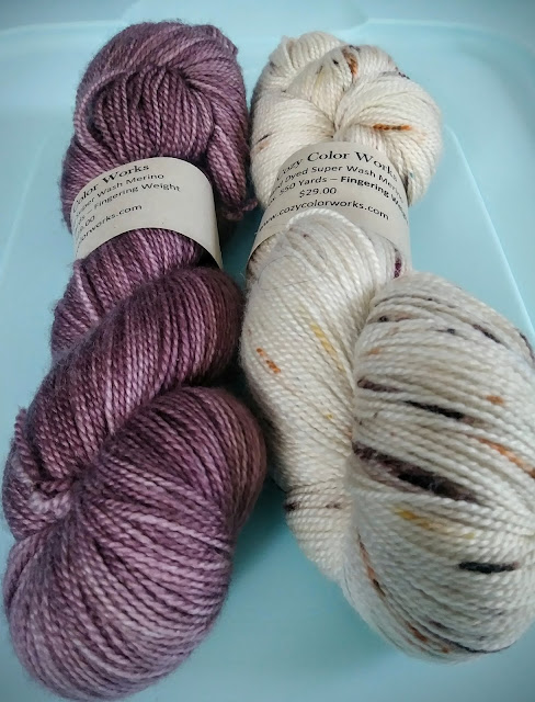 Lace weight yarn intended for a shawl purchased at The Flying Needles