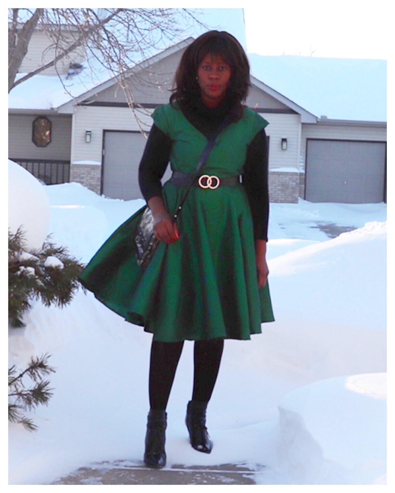 Fashion Beauty Zone: Beauty's Fashion Zone: Green Dupioni Midi Dress + Ankle Boots