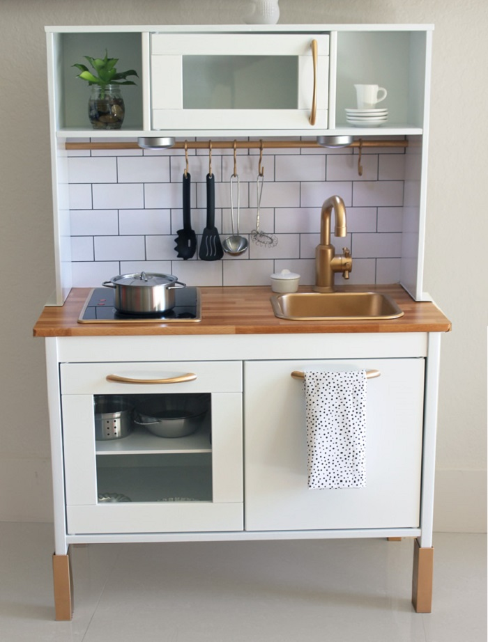 Play kitchen with butchers block contact bench top