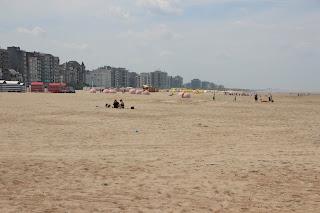 Brede zandstrand De Panne, Belgische kust