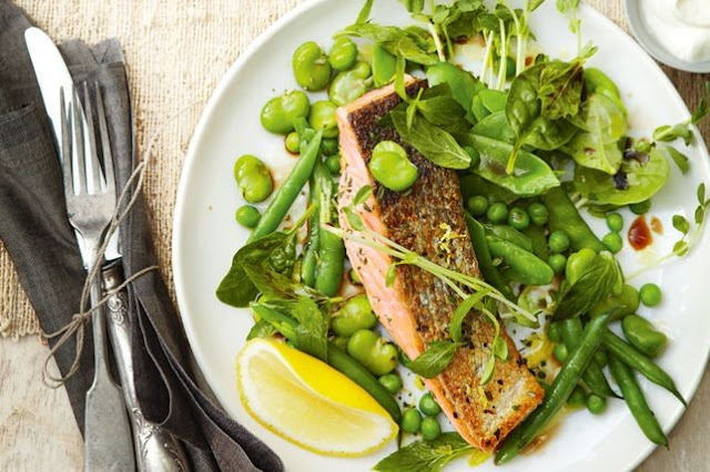 s Mediterranean bean and pea salad with herbed salmon Rosemary's Mediterranean bean and pea salad with herbed salmon recipe