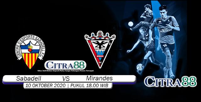 Prediksi Bola Sabadell Vs Mirandes 10 Oktober 2020