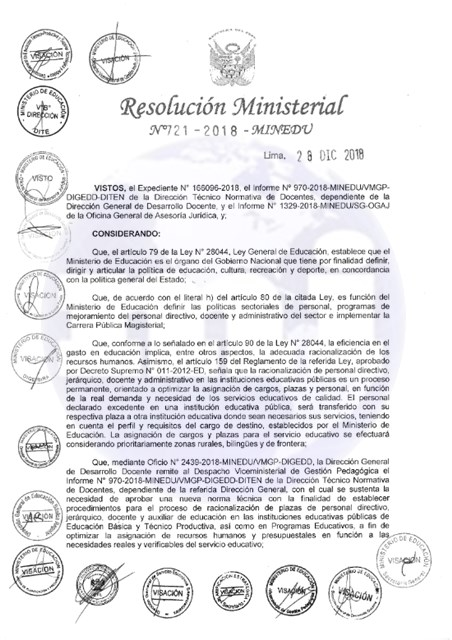 Norma Técnica de Racionalización Docente (R.M. Nº 721-2018-MINEDU)