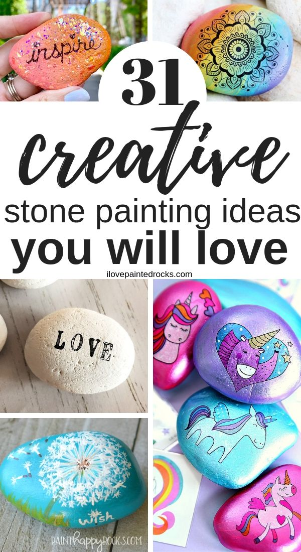 Check out these 31 simple and creative stone painting ideas! You can learn how to make your own DIY pebble art with awesome painting hacks that you and your kids can make, even if you don't know how to draw. These fun ideas will make it easy to get started painting stones for your fairy garden, walkways or for decorations. Each idea links to a tutorial to show you how to make it! #ilovepaintedrocks #paintedstones #stonepainting #rockpainting #paintedrocks #rockpaintingideas #stonepaintingideas #easyrocks