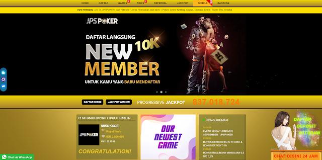 JPSPOKER BONUS NEW MEMBER 10.000 & BONUS HARIAN 5%