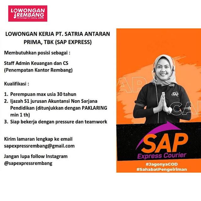 Lowongan Kerja Staff Admin Keuangan Dan Customer Service Ekspedisi Sap Express Rembang