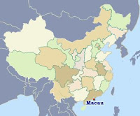 Map of China showing Macao.