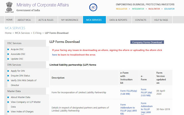 LLP form page to download all forms